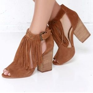 Chinese Laundry Boho Suede Leather Fringe Booties